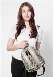 Casual Stylish Woman With Gray Snake Print Backpack- Front View