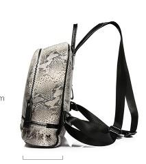 Casual Stylish Gray Snake Print Backpack- Side View