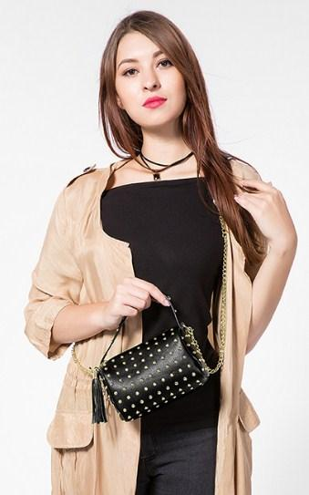 Casual Stylish Woman With Black STUDDED CROSSBODY BAG - Front View