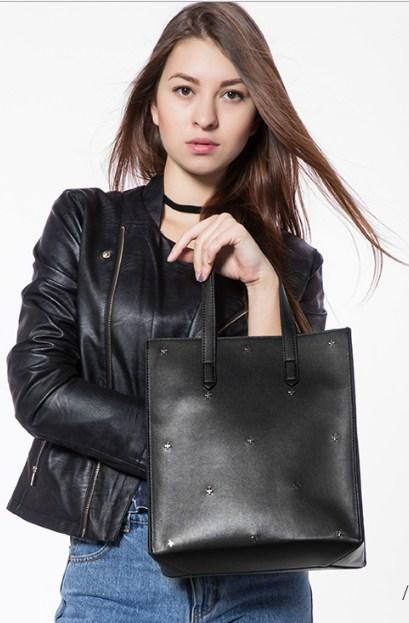Casual Stylish Woman With Black TOTE BAG - Side View