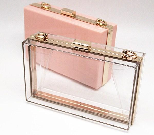 Casual Stylish Pink Luxury Box Clutch - Front View