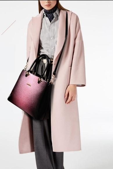 Casual Stylish Woman With Purple Leather Shoulder Bag-Side View