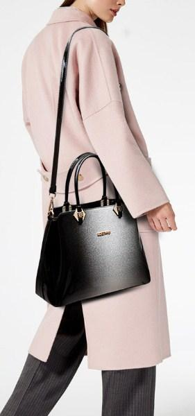 Casual Stylish Woman With Gray PATENT LEATHER SHOULDER BAG - Side View