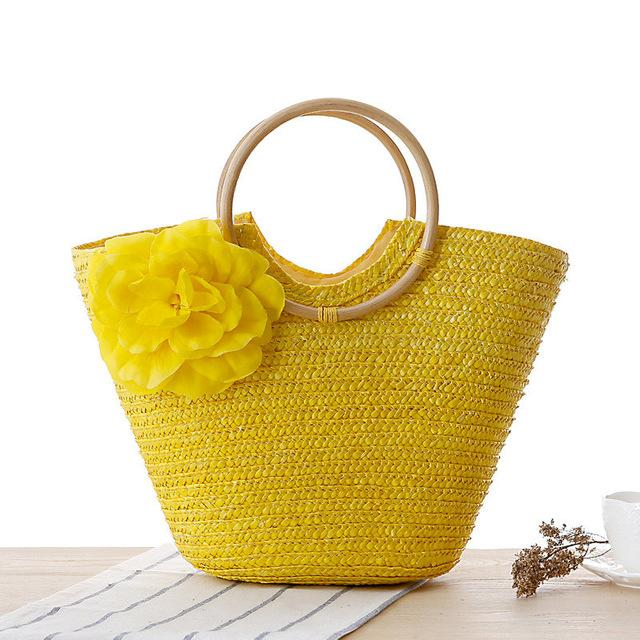 LUXY MOON Woven Basket Bag with Ring Handle