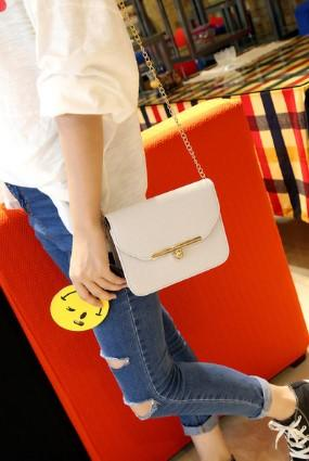 Casual Stylish Woman With Beige Classic Crossbody Bag- Front View