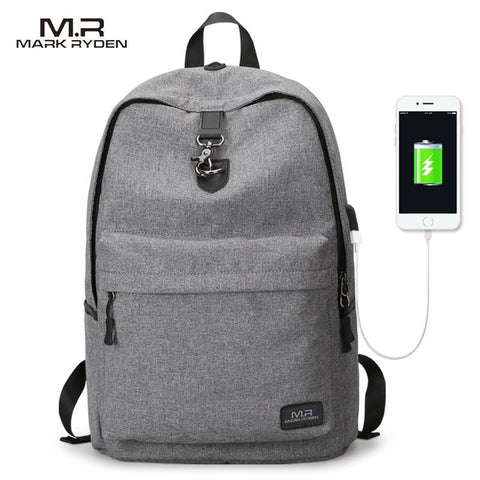 MARK RYDEN College Canvas Backpack-bag-BagPrime - Global Prime Bag Fashion Platform-Black USB-China-15 Inch-BagPrime - Global Prime Bag Fashion Platform
