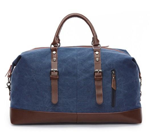 casual stylish blue Retro Style Travel Bag- front view