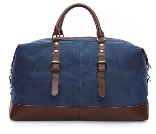 casual stylish blue Retro Style Travel Bag- back view