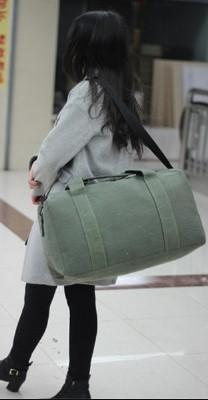 Casual Stylish Woman With Cool Green Travel Bag- Back View