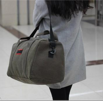 Casual Stylish Woman With Cool Green Travel Bag- Side View