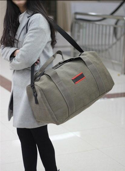 Casual Stylish Woman With Khaki Cool Travel Bag - Front View