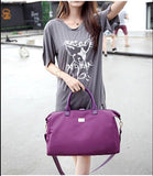 Casual Stylish Woman With Purple Chic Travel Bag- Front View