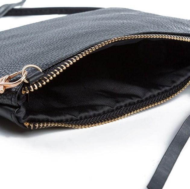 Casual Stylish Black Modern Classic Day Clutch - Open View