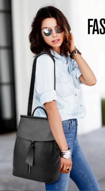 Casual Stylish Woman With Black MODERN EDGY BACKPACK- Side View