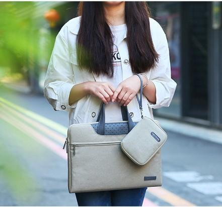 Modern Khaki Laptop Bag- Front View