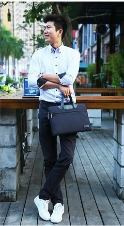 Modern Black Laptop Bag- Front View