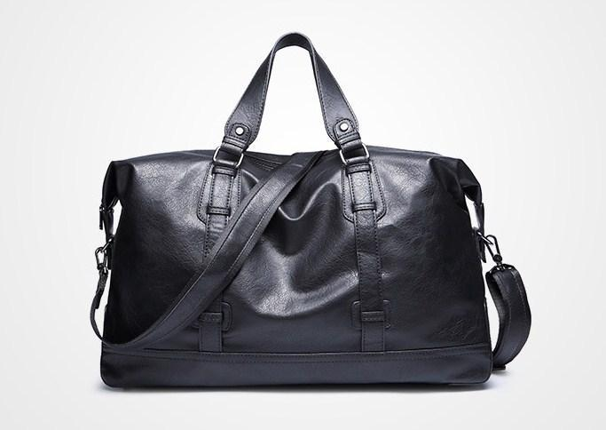 casual stylish black Leather Travel Bag- front view