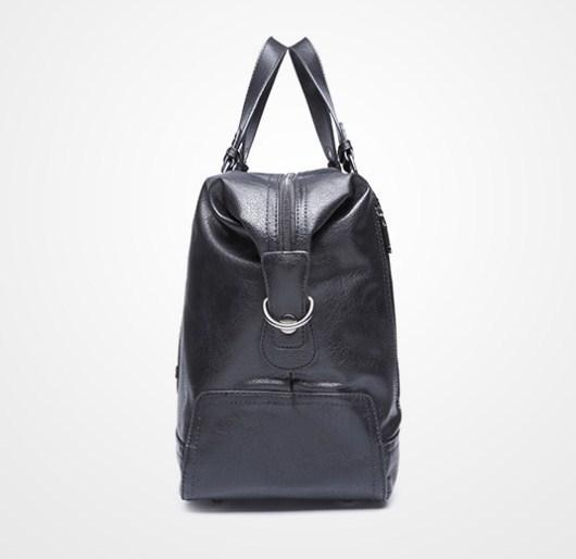 casual stylish black Leather Travel Bag- side view