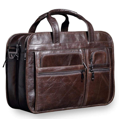 NEW Genuine Leather Business briefcase Laptop bags handbag Vintage Large capacity Natural leather Travel bag soft skin handbag - BagPrime - Look Your Best with Amazing Bags
