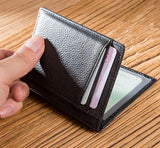Casual Stylish Black Slim Leather Wallet - Side Open view