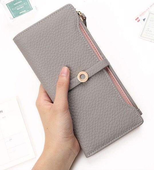 Casual Stylish Woman With Gray Cute Romantic Long Wallet - Front View