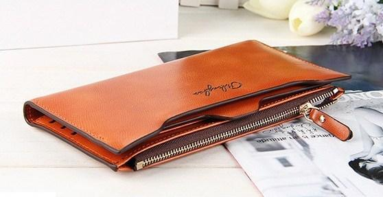 Casual Stylish Brown Rustic Leather Zipped Wallet - Side Top View