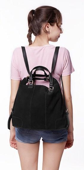 casual stylish woman with black Tote Bag - back view