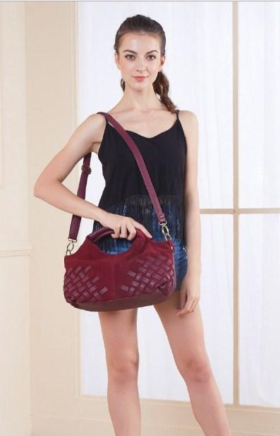 Casual Stylish Woman With Burgundy WOVEN TOP HANDLE BAG - Front View
