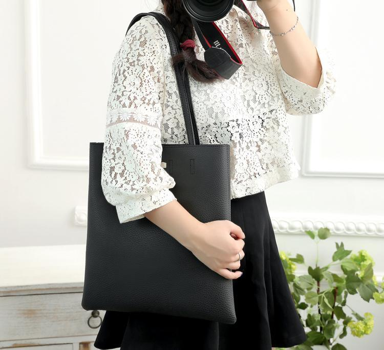 casual stylish woman with black Classic Tote Bag - Side view