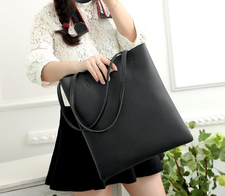 casual stylish woman with black Classic Tote Bag - Front view