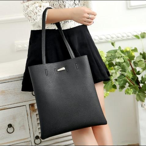 Casual Stylish Woman With Black Classic Tote Bag-Front View