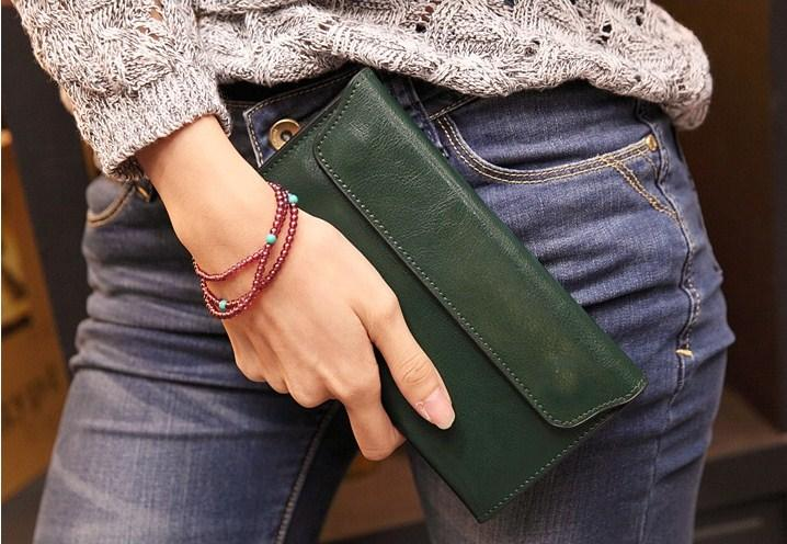 Casual Stylish Woman With Green Classic Wallet - Front View