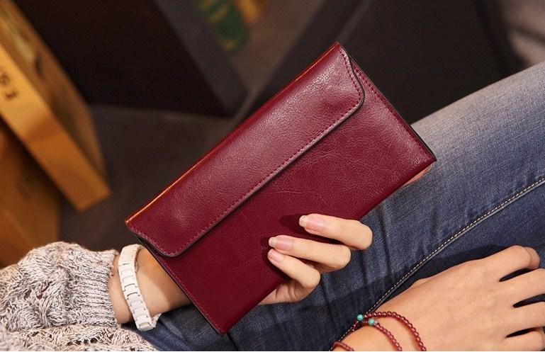 Casual Stylish Woman With Red Classic Wallet - Front View
