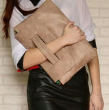 Casual Stylish Woman With Khaki Classic Wristband Clutch - Front View