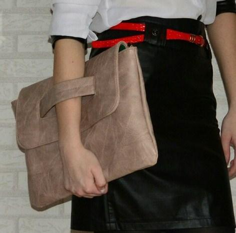 Casual Stylish Woman With Khaki Classic Wristband Clutch - Side View