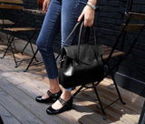 Casual Stylish Woman With Black MODERN CLASSIC SHOULDER BAG - Side View
