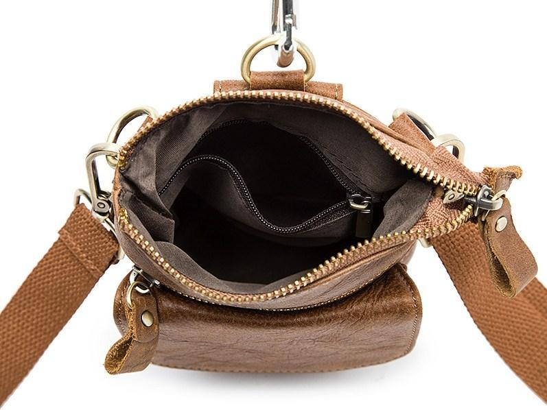 Casual Stylish Brown Genuine Leather Waist Bag - Open View
