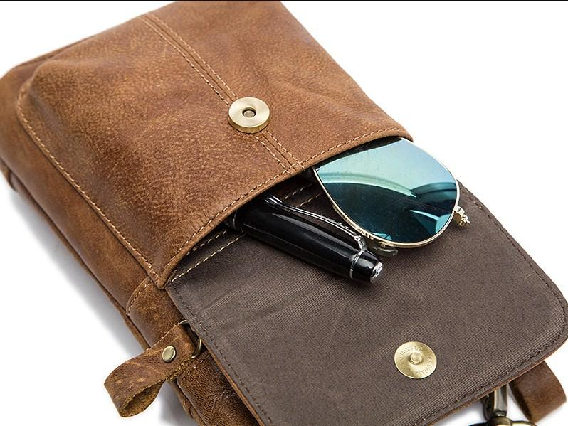 Casual Stylish Brown Genuine Leather Waist Bag - Top Open View