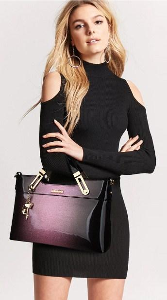 Casual Stylish Woman With Purple LEATHER HANDBAG WITH KEYCHAIN - Front View