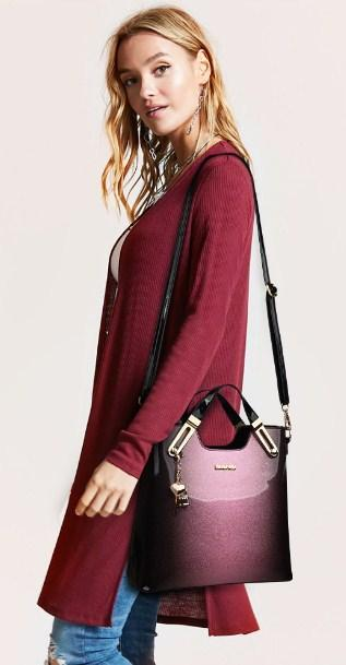 Casual Stylish Woman With Purple LEATHER HANDBAG WITH KEYCHAIN - Side View