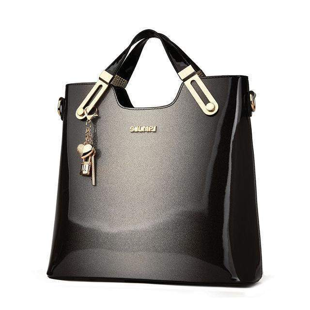Patent Leather Handbag with Keychain - BagPrime - Look Your Best with Amazing Bags