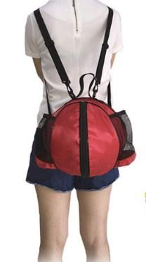 Casual Stylish Man With Red Portable Basketball Gym Bag - Front View