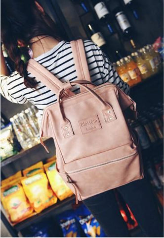 Casual Stylish Woman With Pink Chic Backpack- Front View