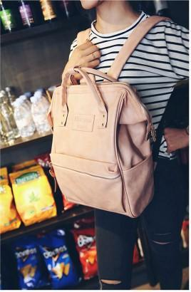 Casual Stylish Woman With Pink Chic Backpack- Side View
