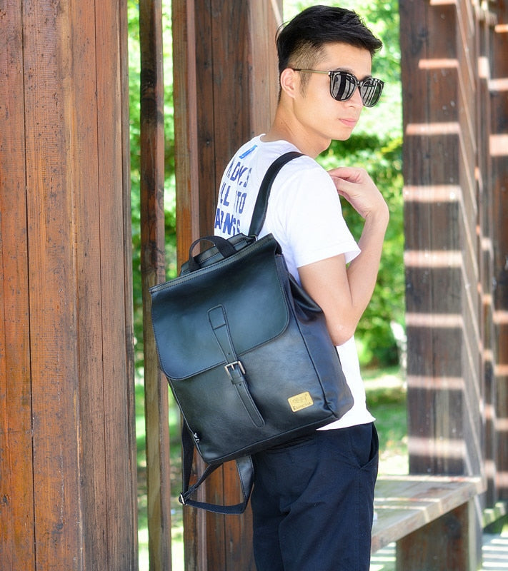 Modern Leather School Backpack