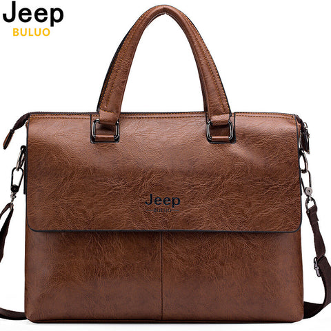 "JEEP BULUO Genuine Leather 13"" Briefcase"