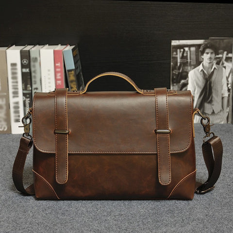 BAOERSEN Vintage Leather Messenger Bag
