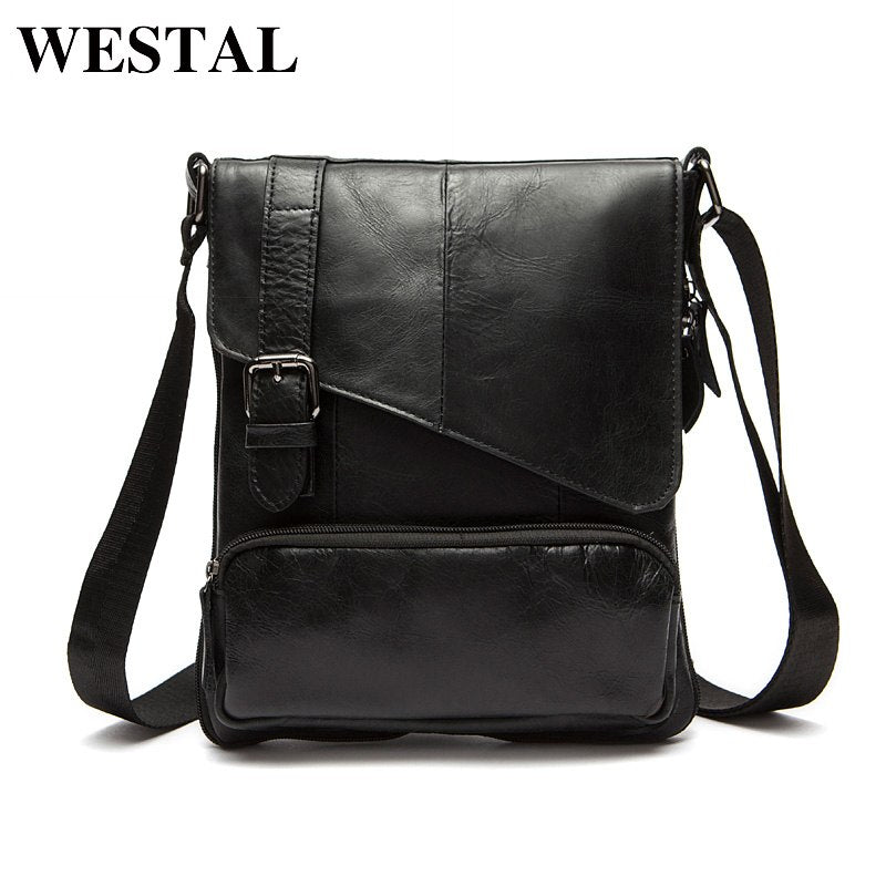 WESTAL Genuine Leather Army Messenger Bag
