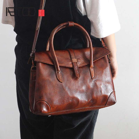 AETOO Genuine Leather Satchel Sling Bag