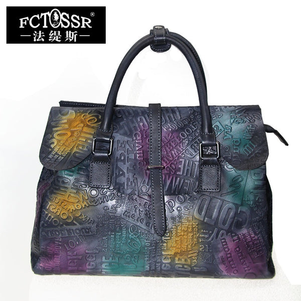 Colorful Genuine Leather Handbag